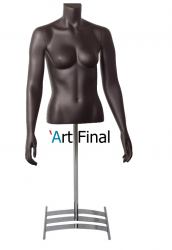 Busto Feminino de Fibra Penélope com Braço e  com Pedestal Cromado