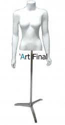 Busto Feminino de Fibra Penélope com Braço e  com Pedestal Tripé Cromado